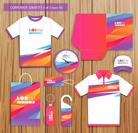 promotional: Vector artistic corporate identity template with color elements.