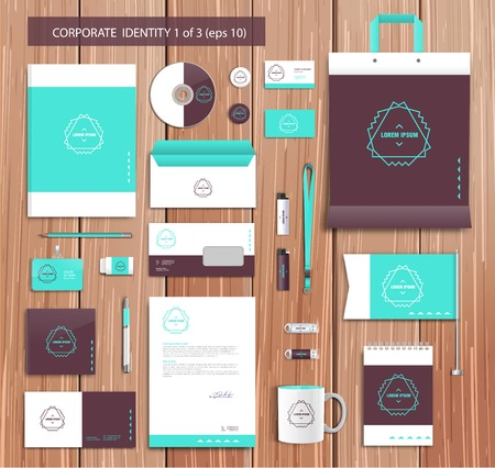 identification card: Vector artistic corporate identity template with color elements.