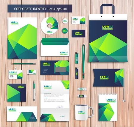Vector artistic corporate identity template with color elements.