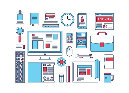 laptop: Modern design flat icon vector collection concept in stylish colors of business workflow items and elements