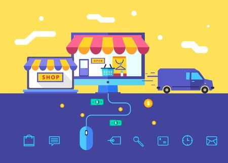 Flat design vector illustration concept of online shop 向量圖像