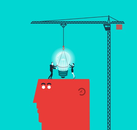 mental work: Vector concept illustration of light bulb and gift
