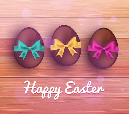 Vector easter chocolate eggs on rustic wooden planks Vector