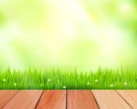 Vector rustic wooden planks and grass on blue background