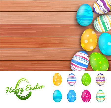 Vector easter colored eggs on rustic wooden planks Vector
