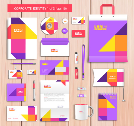 brochure layout: Vector artistic corporate identity template with color elements.