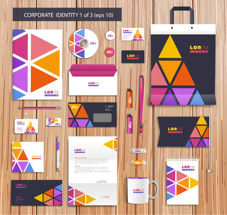 report cover: Vector artistic corporate identity template with color elements.