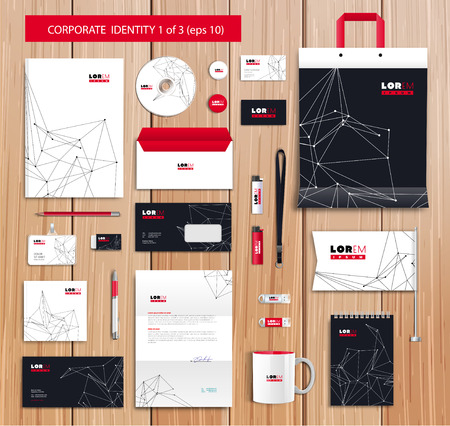 stationary: Vector artistic corporate identity template with color elements.