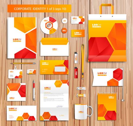 membrete: Vector artístico plantilla de identidad corporativa con elementos de color.