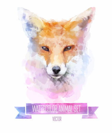 Vector set of watercolor illustrations. Cute fox. Vector
