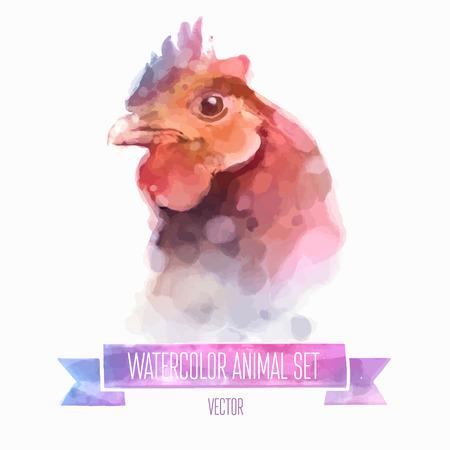 creative egg painting: Vector set of watercolor illustrations. Cute chuiken Illustration