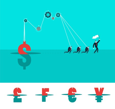 worker: Vector business concept illustration of strongs men who get idea and leader.