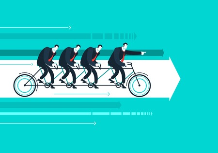 Vector business man with team on the bicycle