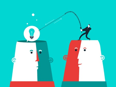Two heads with man who catch the bulb. Vector business illustration.