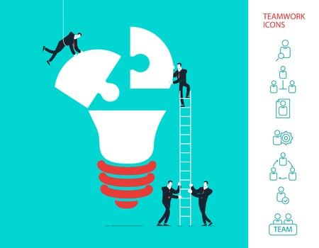 creative work: Flat design vector illustration concept of team work.