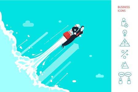 brandweer cartoon: Succes zakenman vliegen op de raket. Stock Illustratie