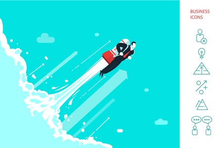 teamwork cartoon: Success businessman is flying on the rocket. Illustration