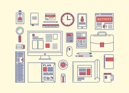 articulos oficina: Dise�o moderno icono plana concepto de vectores colecci�n en colores elegantes de elementos de flujo de trabajo empresarial y elementos
