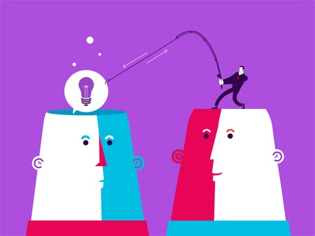 white achievement: Two heads with man who catch the bulb. Vector business illustration.