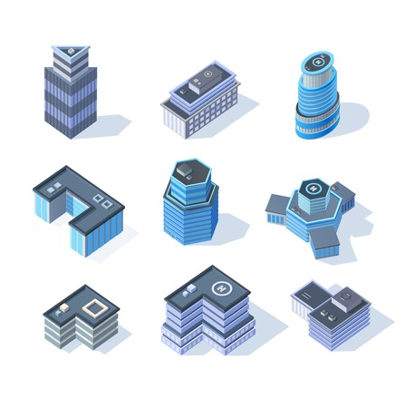 Vector isometric business city center buildings set Vector