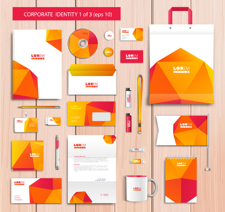 Vector artistic corporate identity template with color elements. Vector