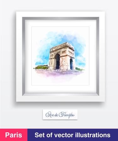 triumphe: Famous Arc de Triomphe in Paris, France. Vector illustration