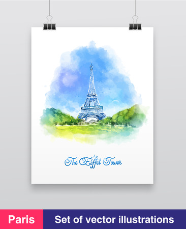 Watercolor vector illustration of The Eiffel Tower in Paris, France 向量圖像