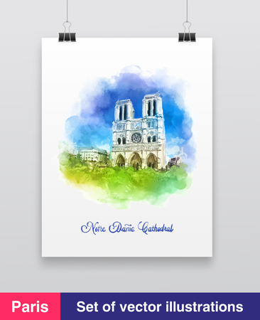 notre dame: Watercolor vector illustration of the Notre dame cathedral from Paris Illustration