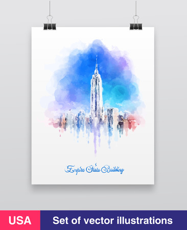 empire state building: New York City skyline with urban skyscrapers. Vector illustration.