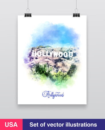 Watercolor vector illustration. Hollywood Sign. California