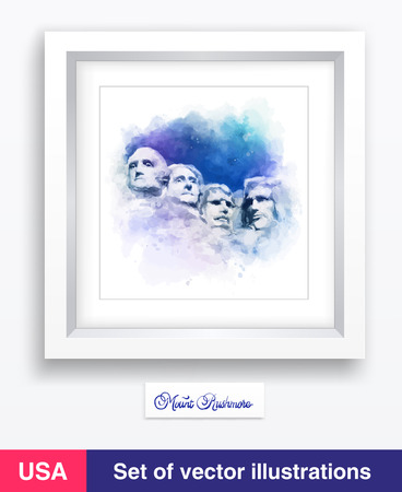 Vector watercolor Famous Landmark and Mountain Sculpture - Mount Rushmore.  South Dakota Illustration