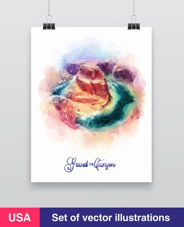 grand canyon: Watercolor Grand Canyon, Arizona, USA. Vector Illustration