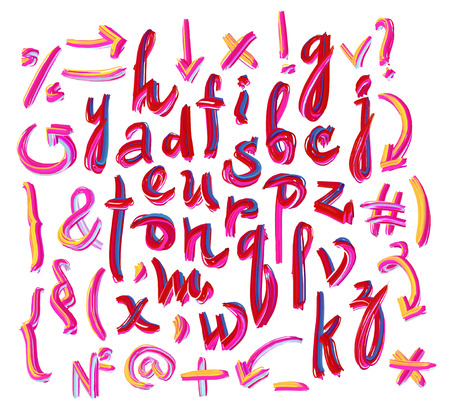 Vector alphabet. Hand drawn letters. Letters of the alphabet written with a oil paint. Illustration