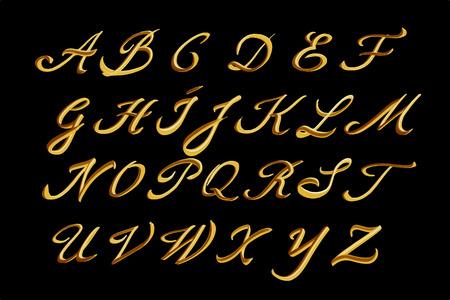 letras de oro: El alfabeto del. Dibujado a mano letras de oro.