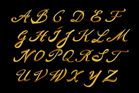 Vector alphabet. Hand drawn gold letters.