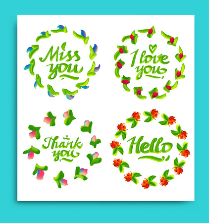 sorry: Greeting cards for different occasions everyday. Typography and flowers. Vector illustration