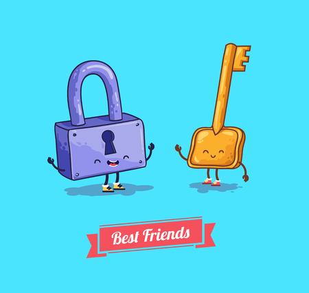 mejores amigas: Vector de dibujos animados. Protección, cerradura de seguridad con llave. Mejores amigos
