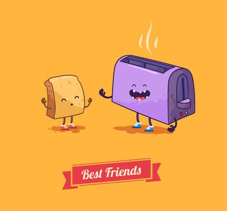 Best friends. Vector cartoon. Breakfast.