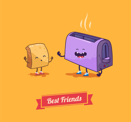 toasted bread: Best friends. Vector cartoon. Breakfast.
