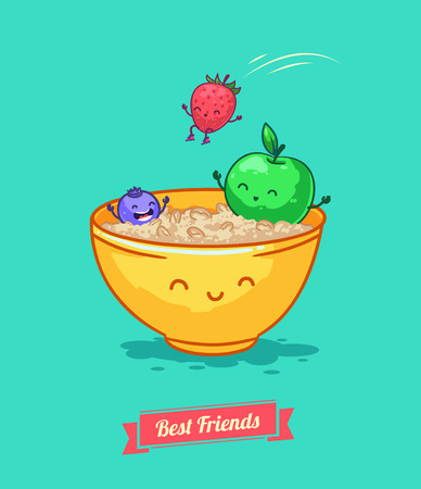whortleberry: Vector funny cartoon. Fruit diet. Porridge and fruits with oatmeal. Best friends