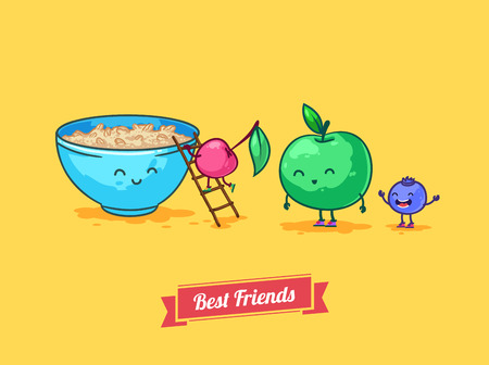 whortleberry: Vector funny cartoon. Fruit diet. Porridge and fruits with oatmeal. Best friends.