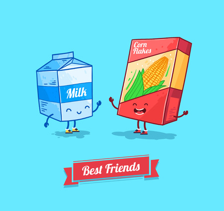 Vector funny cartoon. Funny cornflake and milk.  Best friends.