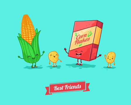 muesli: Vector funny cartoon. Funny cornflake. and corn  Best friends.