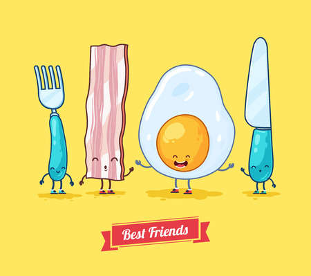 Vector funny cartoon. Funny egg, bacon, knife, fork.  Best friends. Ilustracja