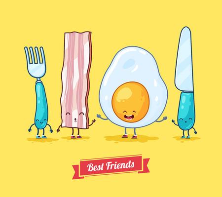 Vector funny cartoon. Funny egg, bacon, knife, fork.  Best friends. Illustration