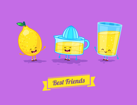 best friends: Vector funny cartoon. Funny glass, lemon and  juice. Best friends Illustration