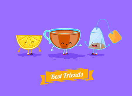 teabag: Vector funny cartoon. Funny cup, lemon and teabag  Best friends.