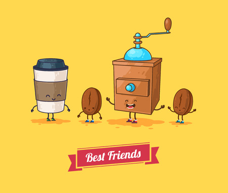Vector funny cartoon. Funny coffee, beans ans coffee mill  Best friends.