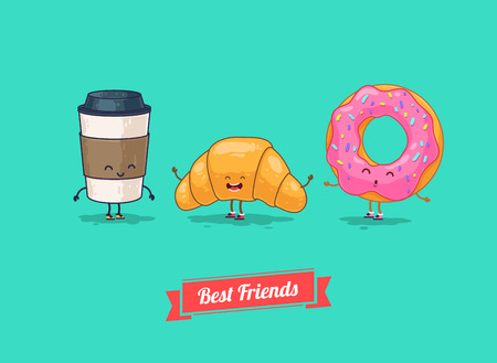 drink coffee: Vector funny cartoon. Funny coffee, croissant, donut. Best friends.