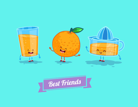 fresh juice: Vector funny cartoon. Funny glass, orange and  juice. Best friends Illustration